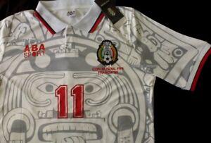 New ABA SPORT Mexico Away Jersey #11 BLANCO Large RETRO France 1998 club america