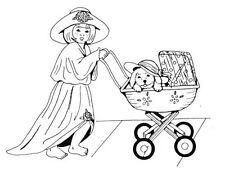 Unmounted Rubber Stamps, Cute, Dress Up Girl with Puppy in Baby Carriage, Babies