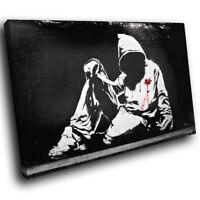 ZAB205 Black White Banksy Graffiti Modern Canvas Abstract Wall Art Picture Print
