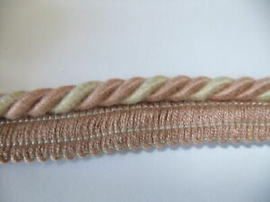 10 METERS 8MM FLANGED CORD/ROPE PIPING CREAM  AND PINK HT 23
