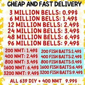 Nook Miles Tickets , Fish Bait , Bells , ALL 640 DIY , ONLINE Animal :; Crossing