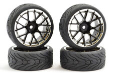 Fastrax 1/10th Street Tread Tyres 14SP on Black and Chrome Wheels Set of 4