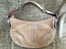 "Women's Coach Suede Handbag Purse 11x7"" Tan Suede Leather"