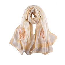 Long Silk Feel Satin Scarf Champagne Theme Floral Print LAT107