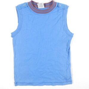 NEW Columbia Sleeveless Shirt Youth Large Blue Logo Outdoor Activewear Epaulet