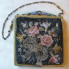 Antique Gold Enamel Jewel Frame Silk Forbidden Stitch Floral Embroidery Purse #2