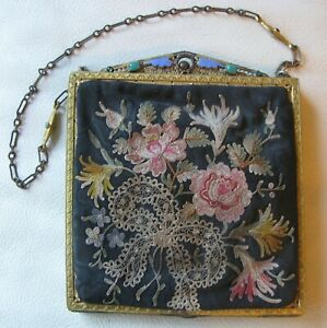 Antique Gold Enamel Jewel Frame Silk Forbidden Stitch Floral Embroidery Purse #2