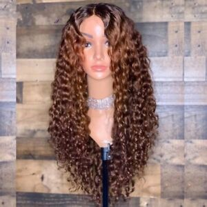 8A 180 Density Unprocessed Brazillian Ombre Curly Lace Front Human Hair Wig