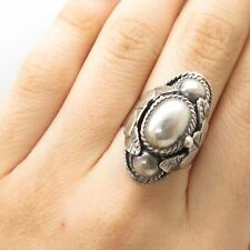 Vtg Signed Mexico Taxco Silver Wide Leaf Motif Adjustable Poison Ring Size 7