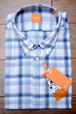 Hugo Boss Orange Men's EQUATORE Blue Plaids Cotton Casual Shirt S