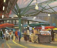 """Original michael richardson oil """"Foire de Noël, marché Borough"""" peinture de Londres"""