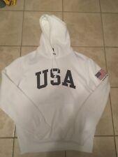 Polo Ralph Lauren Usa Flag Spellout White Fleece Hoodie Rare Men's Large