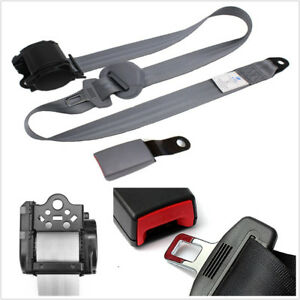 Universal Car 3 Point Retractable Safety Seat Belt Nylon Straps Iron Plate Style