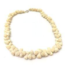 Vintage Jewellery  Beautiful Carved Bovine Flower Necklace