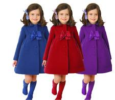 Kids Girls Coats Winter Warm Outwear Jacket Trench Bowknot Swing Dress ZG8