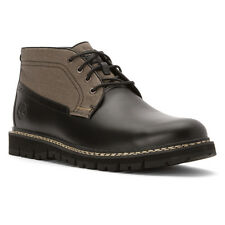 Timberland Men's Britton Hill 12 M Black Leather & Grey Canvas Chukka Boots $160