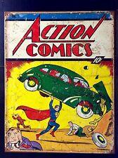 Superman Action Comics Book Cover TIN SIGN Vtg Metal Dc Poster Wall Decor