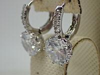 Certified 3.00 CT Round Cut Moissanite 14k White Gold Drop/Dangle Hoop Earrings