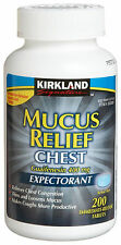 200 Kirkland MUCUS RELIEF CHEST Tablets, Guaifenesin 400mg Mucinex| NO SALES TAX