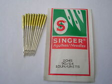 10 Vere SINGER SEWING MACHINE BALL POINT Needles SIZE 90/14 oro fascia stretch