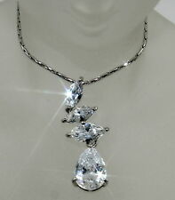 Elegant Created Marquise & Drop Diamond Pendant + Chain