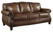 OPULENT HAND RUBBED BROWN 100% LEATHER SOFA COUCH LIVING ROOM FURNITURE