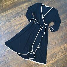 Calvin Klein Long Sleeve Wrap Dress Sz 6 Black