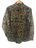 Vtg Woolrich Camo Shirt 100% Wool M Medium Green Made in USA Camouflage