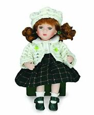 """Ciara""  8"" Irish Porcelain Doll With White Dress And Green Knitted Skirt"