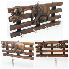 Vintage Key Hanger Wall key Teak Wooden elephant Brown Organizer Storage 4 Hooks