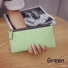 Fashion Women Lady PU Leather Clutch Wallet Long Card Holder Purse Handbag Green