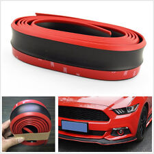 2.5M Red-Black Car Off-Road Front Bumper Skirts Strip Protector Decor Rubber Lip