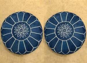 SALE! Set of 2 Moroccan Genuine Leather Pouf Ottoman Footstool Pouffe Blue jean