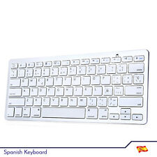 BK3001BA Bluetooth V3.0 Spanish Keyboard Aluminum Alloy / ABS - Silver / White
