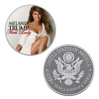 American Souvenir Coin The First Lady MELANIA TRUMP Silver Metal Coin for Gifts