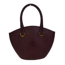 Authentic Must De Cartier Logos Shoulder Bag Leather Bordeaux Gold 07F957