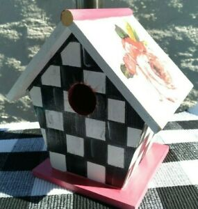 """Mackenzie Childs Inspired Wooden Birdhouse Courtly Check Floral 7 1/2"""""""