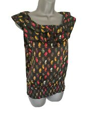 BE BEAU Black OWL PRINT Frilled Edge Ruched Smart Top UK size 8