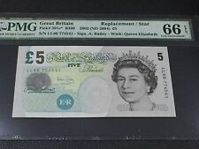 """2002(ND) Great Britain QE II 5 Pound P-391c* """"Replacement/Star Note"""" PMG 66 EPQ"""