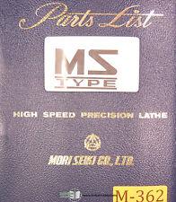 Mori Seiki MS S & G Type Lathe, Parts List Manual Year (1972)