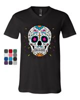 Floral Sugar Skull Day of the Dead V-Neck T-Shirt Dia de los Muertos