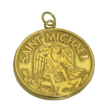 10K GOLD REAL Solid Patron Saint Michael Police Pendant Charm Jewelry Keep Safe