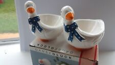 Set Of 2 Ceramic Egg Cup Holders Orange , Blue & White