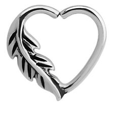 Feather Surgical Steel Continuous Heart Ring  For Right Ear