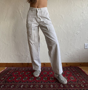 Vintage 90's High Waist Wide Leg Canvas Lee Dungarees Carpenter Work Pants Jr 5
