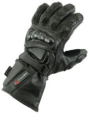 L Leather Gloves Motorcycle Motorbike Waterproof Thermal Mittens
