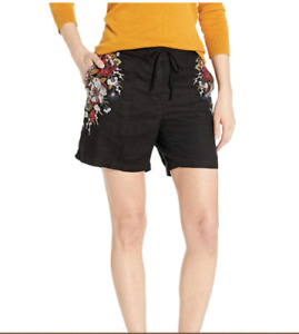 New Johnny Was Beatriz Black Linen Embroidered Shorts size XL $138