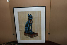 Stunning Egyptian Painting On Papyrus-Signed-Elegant Cat-Lovely Cat Painting