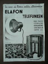 Radio Depliant Pubblicità Telefunken Anni'30 Visigalli Siemens