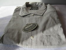NOS DEADSTOCK ARCHiVE 80S HEATHER GRAY SHiRT DiSCO DRESS BUTTON FRONT MENS XL